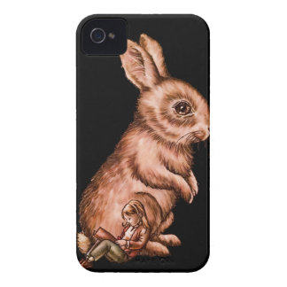 Cartoon Child with Bunny Rabbit Drawing iPhone 4 Case-Mate Case