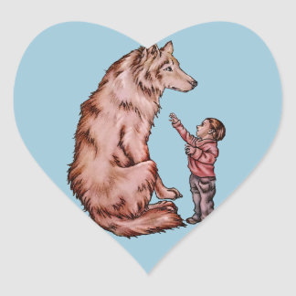 Cartoon Child with Wolf Drawing Heart Sticker