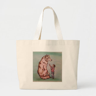 Cartoon Child with Wolf Drawing Large Tote Bag