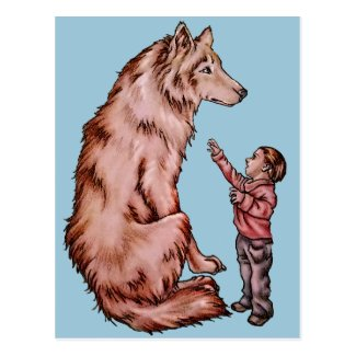 Cartoon Child with Wolf Drawing