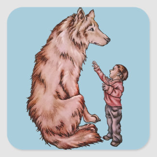Cartoon Child with Wolf Drawing Square Sticker