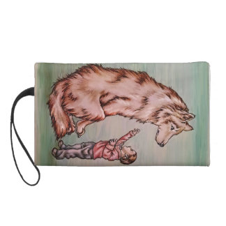 Cartoon Child with Wolf Drawing Wristlet