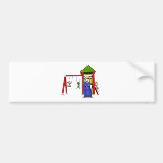 Cartoon Children at a Playground Bumper Sticker
