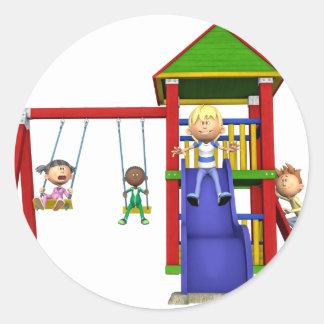 Cartoon Children at a Playground Classic Round Sticker