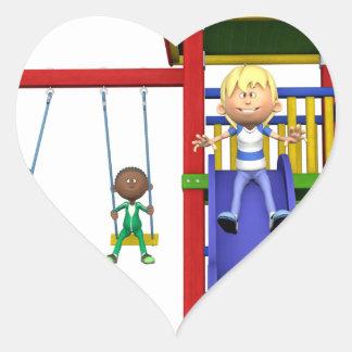 Cartoon Children at a Playground Heart Sticker