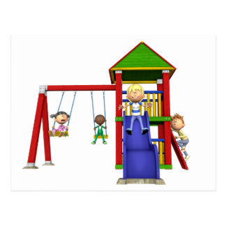 Cartoon Children at a Playground Postcard