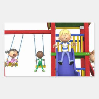 Cartoon Children at a Playground Rectangular Sticker