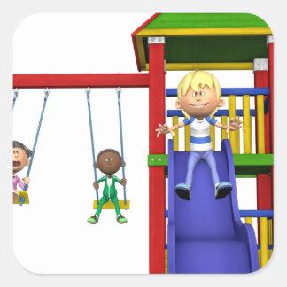 Cartoon Children at a Playground Square Sticker