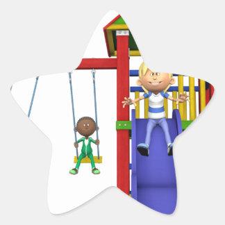 Cartoon Children at a Playground Star Sticker