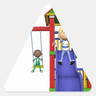 Cartoon Children at a Playground Triangle Sticker