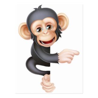 Cartoon Chimp Monkey Pointing Postcard