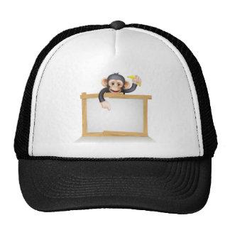 Cartoon Chimp Monnkey Sign Trucker Hat