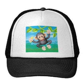 Cartoon Chimp with Banana Trucker Hat