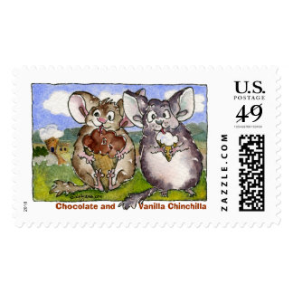 Cartoon Chinchilla Custom Postage Stamps