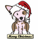 Cartoon Chinese Crested Christmas Ornament Photo Cutout