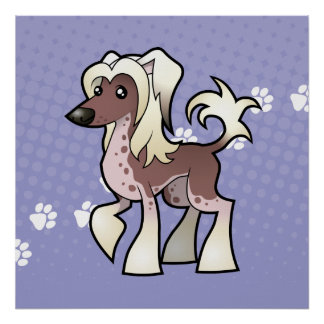 Cartoon Chinese Crested (hairless) Poster