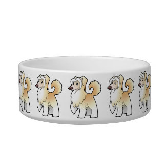 Cartoon Chinese Crested (powderpuff) Bowl