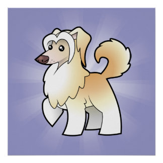 Cartoon Chinese Crested (powderpuff) Poster