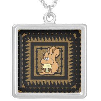 Cartoon Chipmunk Square Pendant Necklace