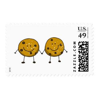 cartoon chocolate chip cookie best friends postage