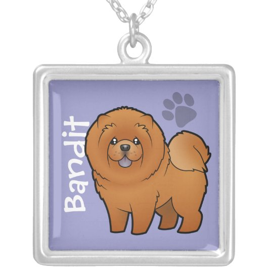 Cartoon Chow Chow (add your pets name) Silver Plated Necklace