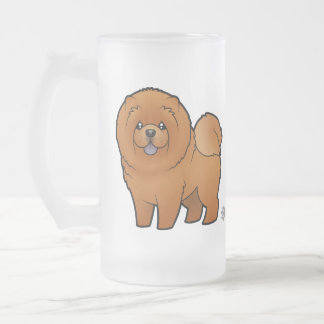 Cartoon Chow Chow 16 Oz Frosted Glass Beer Mug