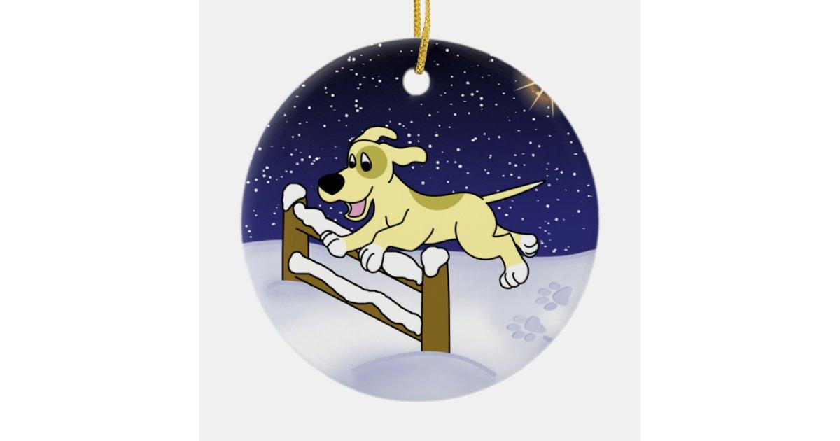 Cartoon Christmas Agility Dog Ornament Zazzle