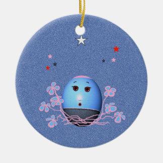 Cartoon Christmas Blue Egg with Stars Ceramic Ornament