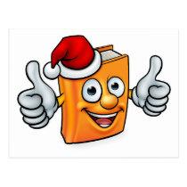 Cartoon Christmas Book Character Mascot Postcard