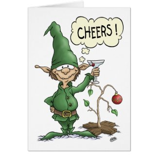 Cartoon Christmas Card: Cheers Elf