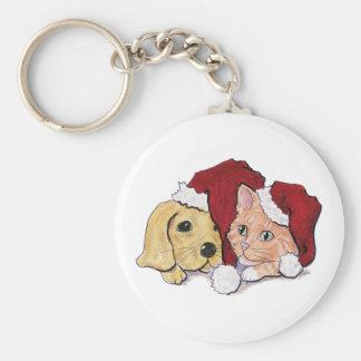 Cartoon Christmas, Cute Puppy Kitten in Santa Hats Basic Round Button Keychain