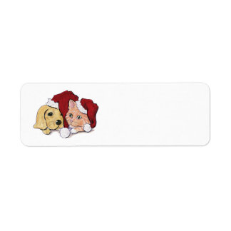 Cartoon Christmas, Cute Puppy Kitten in Santa Hats Return Address Label