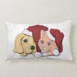 Cartoon Christmas, Cute Puppy Kitten in Santa Hats Pillow