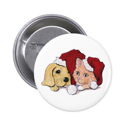 Cartoon Christmas, Cute Puppy Kitten in Santa Hats Pinback Button