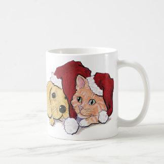 Cartoon Christmas, Cute Puppy Kitten Santa Hats Mug