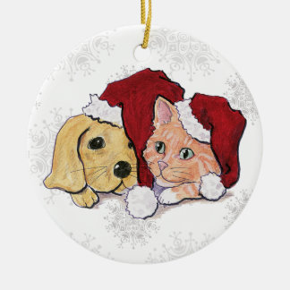 Cartoon Christmas, Cute Puppy Kitten Santa Hats Double-Sided Ceramic Round Christmas Ornament