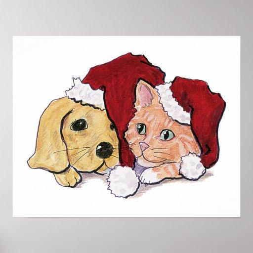 Cartoon Christmas, Cute Puppy Kitten Santa Hats Print