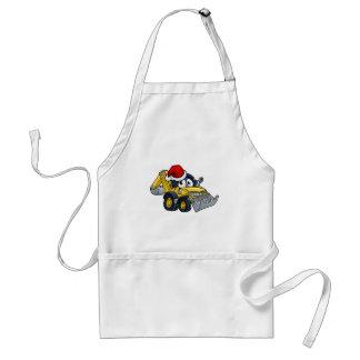 Cartoon Christmas Digger Bulldozer Character Adult Apron