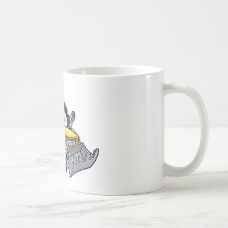 Cartoon Christmas Digger Bulldozer Character Coffee Mug