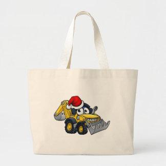 Cartoon Christmas Digger Bulldozer Character Large Tote Bag