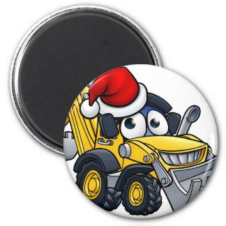 Cartoon Christmas Digger Bulldozer Character Magnet