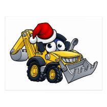 Cartoon Christmas Digger Bulldozer Character Postcard