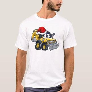 Cartoon Christmas Digger Bulldozer Character T-Shirt