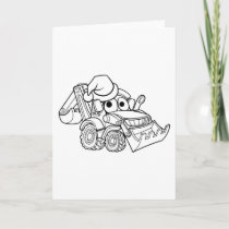 Cartoon Christmas Digger Bulldozer Holiday Card