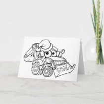 Cartoon Christmas Digger Bulldozer Holiday Card