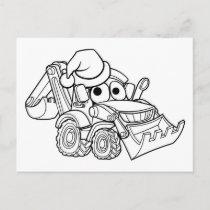Cartoon Christmas Digger Bulldozer Holiday Postcard