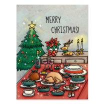 Cartoon Christmas Dinner Postcard