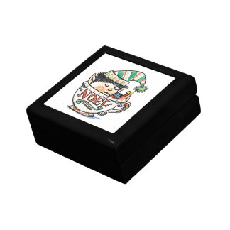 Cartoon Christmas Elf Sleeping in a Tea Cup Noel Keepsake Box