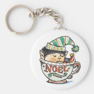Cartoon Christmas Elf Sleeping in a Tea Cup Noel Keychain