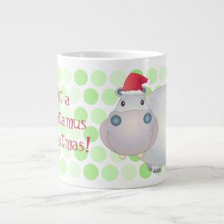 Cartoon Christmas Hippopotamus Jumbo Mug 20 Oz Large Ceramic Coffee Mug
